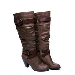 Crown Vintage Knee High Brown Buckle heel Boots